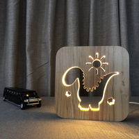 Creative Dinosaur Atmosphere Warm White USB LED Night Lights Button Switch Wooden Novelty Lamp 3D Gift for Children Home Decor