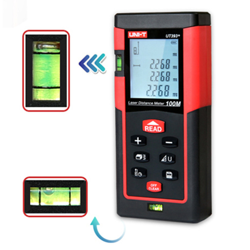 Laser Tape Measure UT393B+ Bubble Level Rangefinder Range Finder Tape Measure Angel/Area/Volume Digital Laser Distance Meter laser range finder 40m 60m 80m 100m digital laser distance meter tape area volume angle engineer measure construction tools