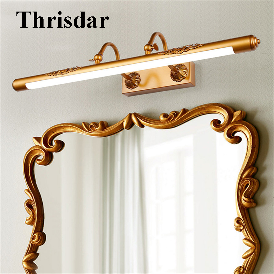 все цены на Thrisdar Adjustable Retro Bathroom LED Mirror Light Bronze Carved Bathroom Cabinet Vanity Mirror Light Luxury Makeup Mirror Lamp