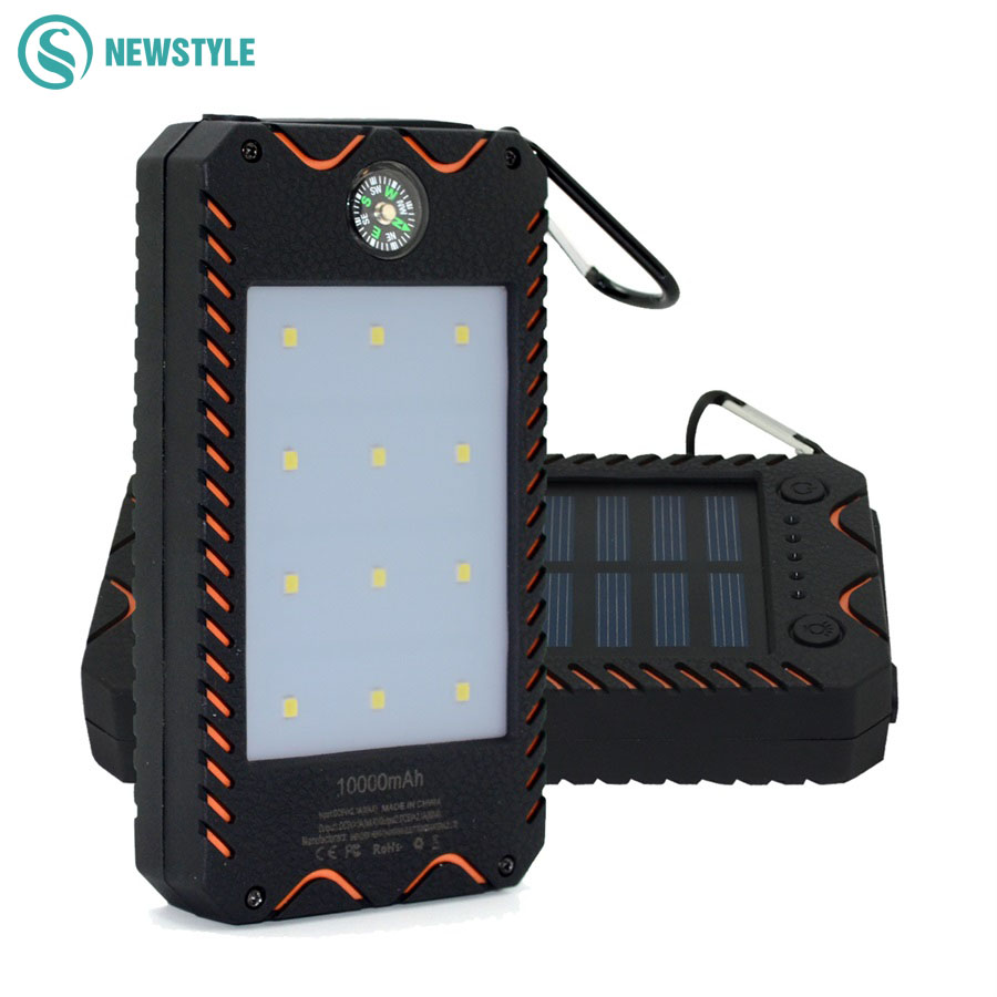 Portable Solar Power Bank light 1000mAh  Waterproof Dual USB With Flashlight Charger for phone/pad outdoor emergency using| | |  - title=