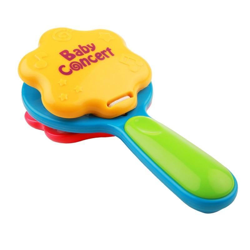 Kuumad lapsed beebi castanet imiku beebi plastikust Castanet muusikariista mänguasi käepide castanet