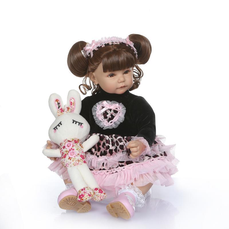 52cm Unique Silicone Vinyl Reborn Dolls Girl Babies With Real Baby Princess Skirt Reborn Dolls Bebe Kids Diy Surprise Christmas