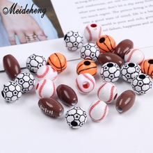 40PCS Ball mix Acrylic 12mm/15x9mm Basketball Soccer Football Spacer Beads Pendant accessories Bracelet department Necklace