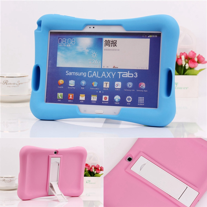 2016 Rubber Case for Samsung Galaxy Tab3 10.1 P5200 full body protective silicone tablet Cover + kickstand silicon shell coque ...