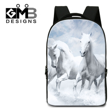 Dispalang white horses print backpack unisex fashion notebook computer laptop bags children school rucksack mens office