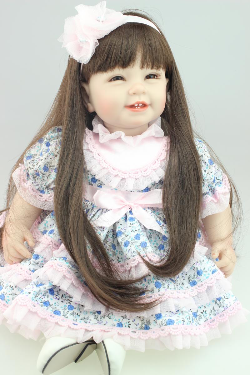 22 Quot Brown Long Hair Girl Doll Reborn Fake Baby Doll