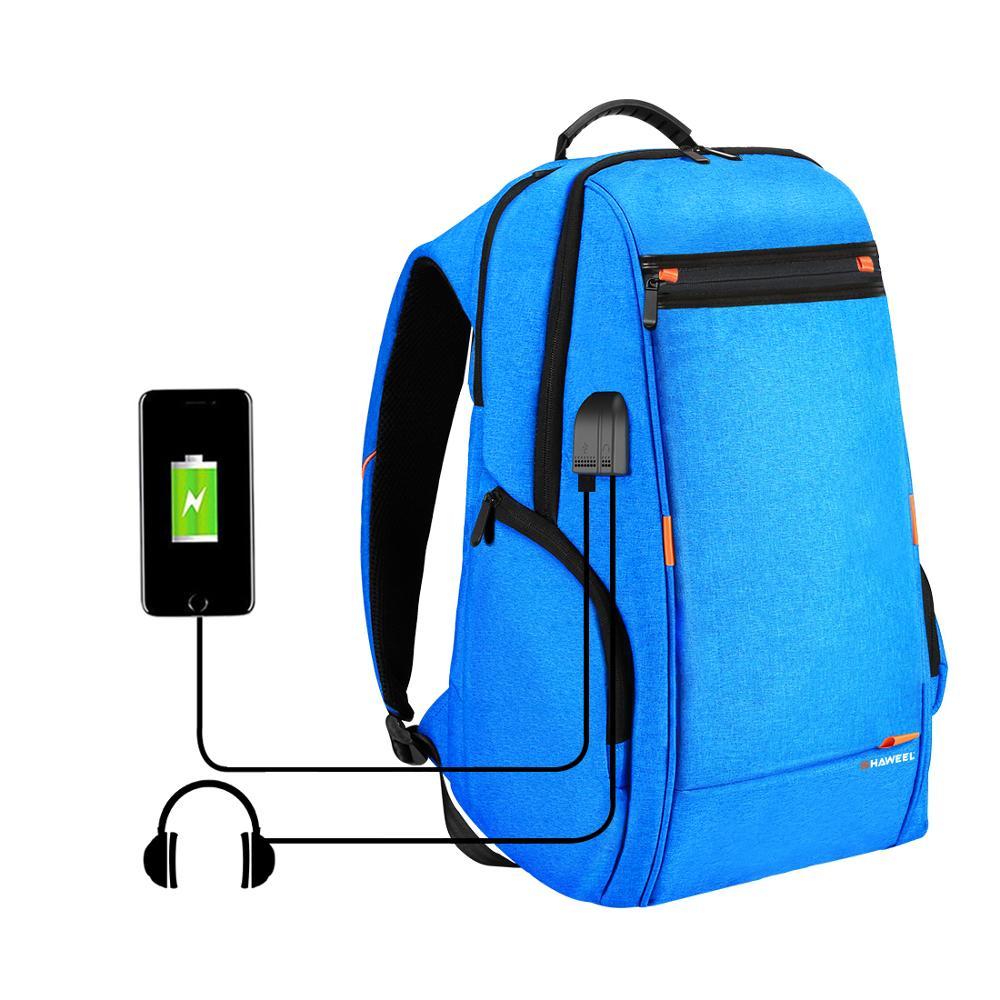Haweel Outdoor Multi function Comfortable Breathable Casual Camera Bag Backpack Laptop Bag External USB Charging Earphone