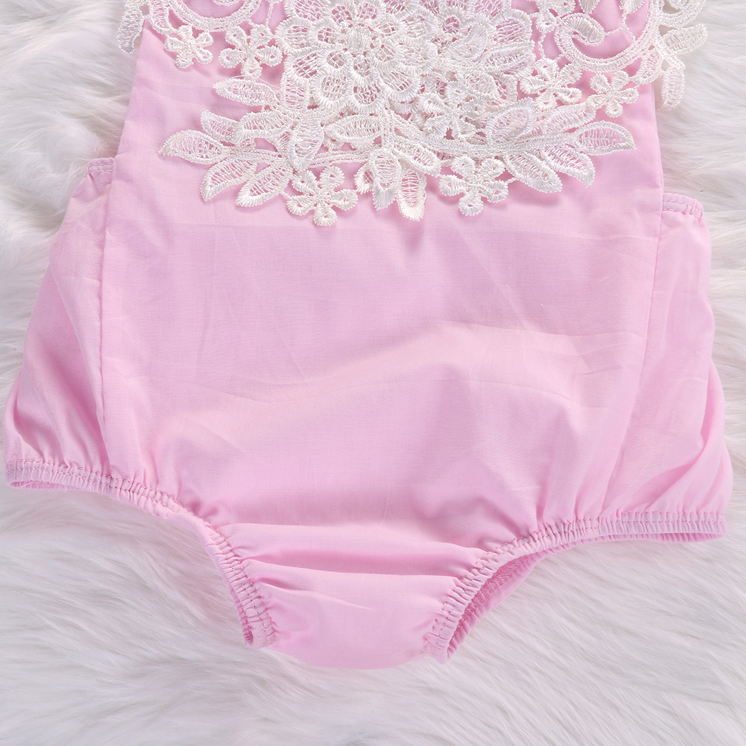 Cute Newborn Baby Girls Bodysuit Lace Floral Pink Bodysuit Jumpsuit+Headband Outfits Sunsuit Clothes 6