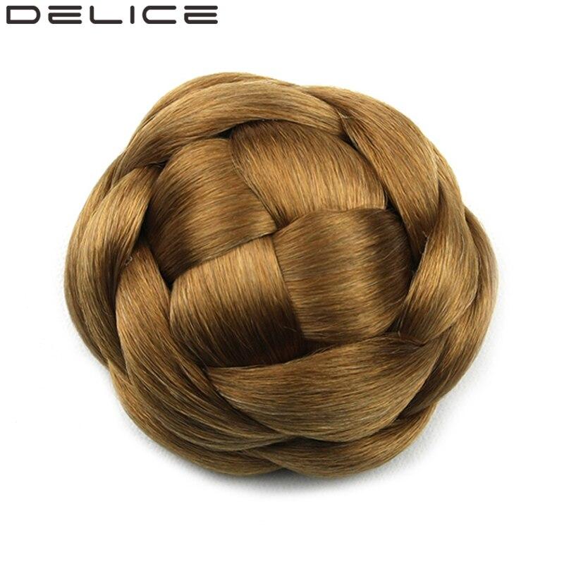 delice Clip In Women s High Temperature Fiber Synthetic Braided Hair Bun Chignon Pure Color