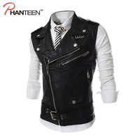 Personality Asymmetric Inclined Zipper Pu Leather Man Vest Turn Down Collar Solid Fitness Fashion Men Waistcoat