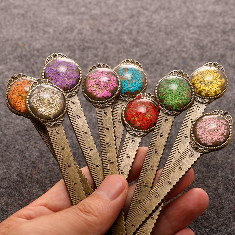 1 Piece Creative Retro Metal Bookmark Ruler Colorful Flower Bookmarks With Glass Gems As Book Page Marker School Supplies
