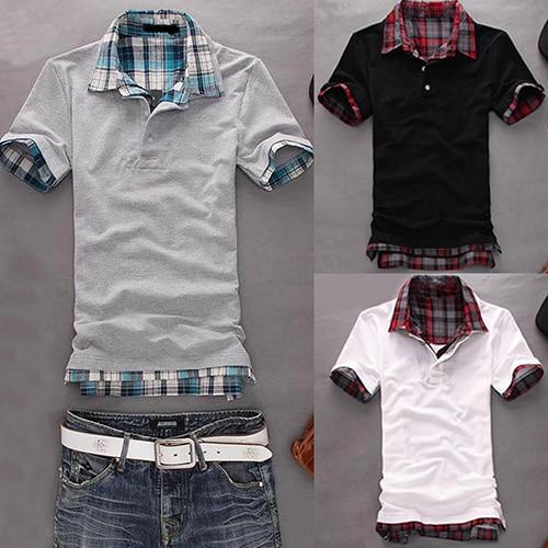 Men Casual Double-Layer False Two Pieces Cotton Short Sleeve Pullover   Polo   Shirt