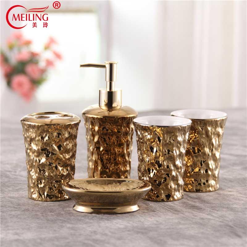Luxury Gold Bathroom Set Ceramic Tooth Brush Holder Soap Toothpaste Dispenser Decorative Storage Organizer Toilet Accessories