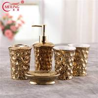 Luxury Ceramic Gold Plated Bathroom Set 5PCS Toothbrush Holder Soap Toothpaste Dispenser Cups Decoration Home Toilet Accessories