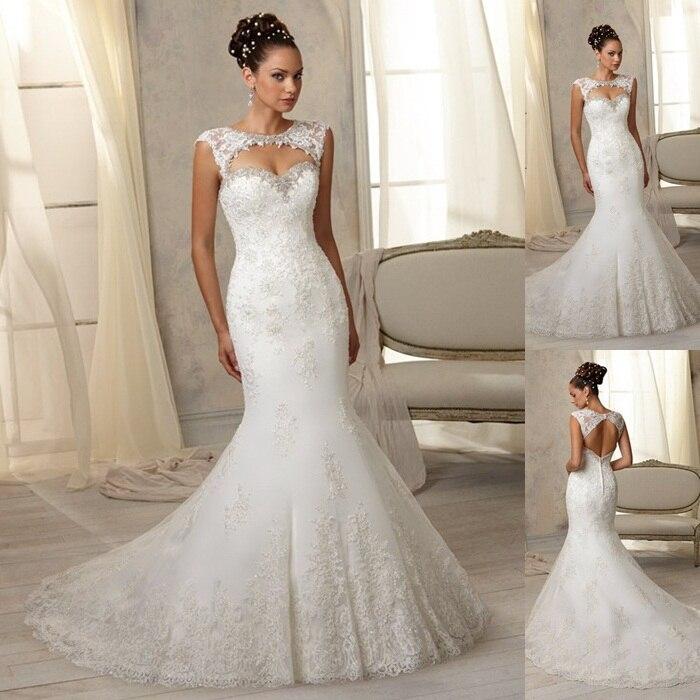 Turtleneck Wedding Gown: 2015 New Arrival Fashion Mermaid Wedding Dress Turtleneck Cap Sleeves Lace Applique Beading