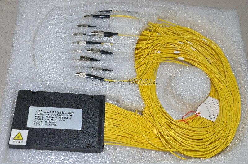 Livraison gratuite GPON EPON 2.0mm 1.5 M 1x64 boîte ABS 1 64 FC/UPC connecteur Fiber optique PLC séparateur