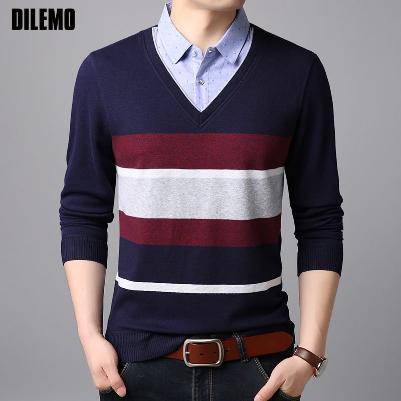 2019 Fashion Brand Shirts Mens Korean V Neck Slim Fit Street Wear Long Sleeve Fake Two Pieces High Quality Casual Clothes cardigan