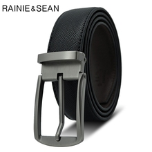 RAINIE SEAN Men Belt Pin Buckle Male Real Leather Vintage Black Man Casual High Quality Cow Mens For Jeans