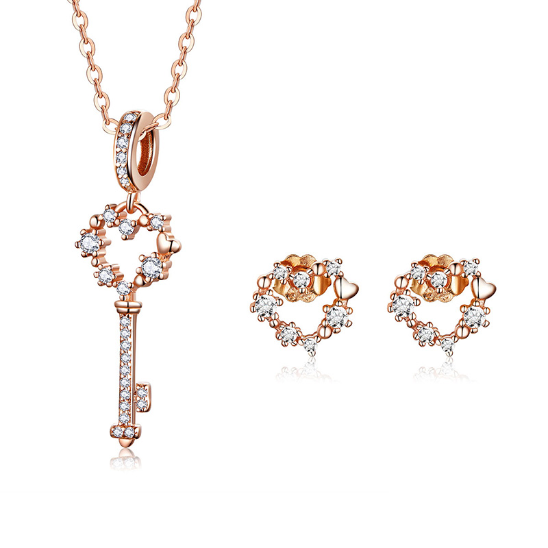 BAMOER Silver Jewelry Sets 925 Sterling Silver Key Pendant Necklace and Earring Stud Female Engagement Jewelry GUS113BAMOER Silver Jewelry Sets 925 Sterling Silver Key Pendant Necklace and Earring Stud Female Engagement Jewelry GUS113