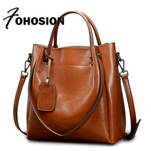 FOHOSION genuine leather Ladies Handbag large capacity vintage retro cow leather Messenger bags High Quality famous brands Totes
