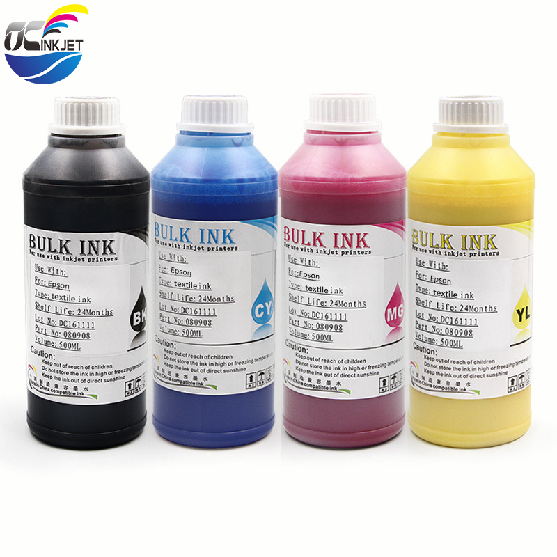 500ML 4color,4*500ml Digital Textile Ink For <font><b>Epson</b></font> R1800 R1900 R2000 R3000 <font><b>F2000</b></font> 1390 1400 1410 1430 <font><b>Printer</b></font> Dtg Ink ,BK C M Y image
