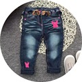 Free Shipping 5pcs/lot 2017 Spring Model Jeans with Strap for 1-6yrs Baby Girls