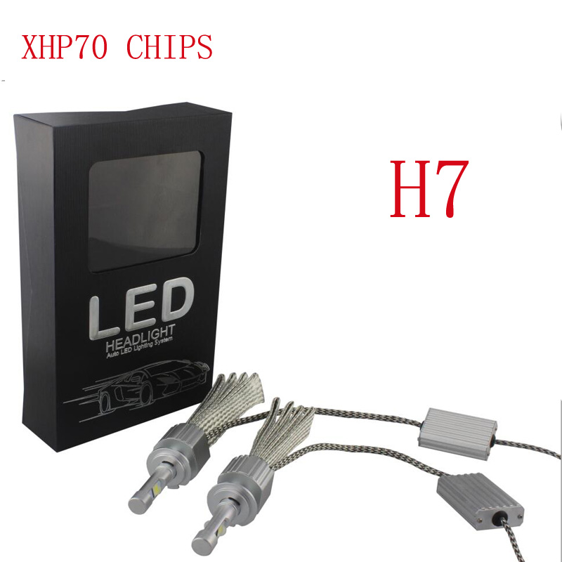 Car Fanless LED Headlight Kit For Cree Chips xhp70 LED 6000K Replacement 55W 6600LM bulb H4 H7 H8 H11 9005 9006 auto fog lamp
