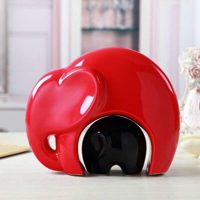 Exquis intéressant chinois moderne porcelaine noir rouge mignon éléphant fête des mères décoration Statues-mère protéger l'enfant