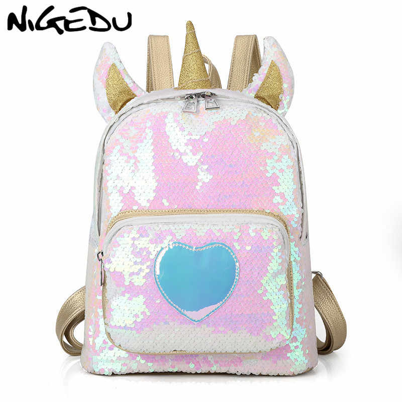 9589229dfb7 Fashion Sequin women Backpack Cartoon Unicorn backpack for girls kids  school bag Cute Hologram Laser PU Leather Travel Mochila