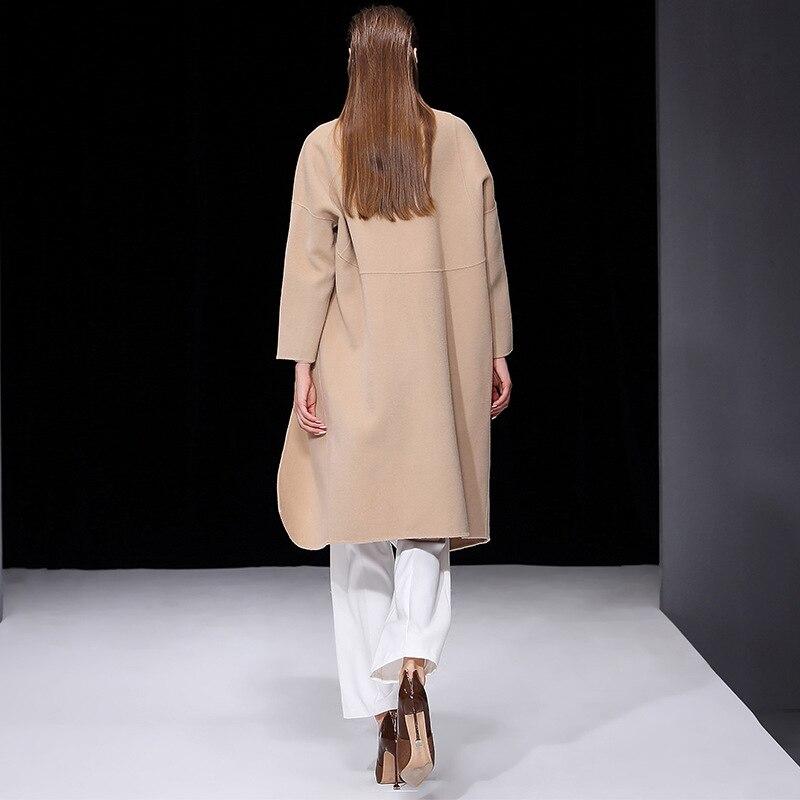 En Face Collar Down Beige Femme Manteau Turn dark Un Brown Laine Hiver Outwear Manteaux Long Lâche Femmes Bouton Mode Cachemire blanc rose Cape Double De Yqwp0q6Z