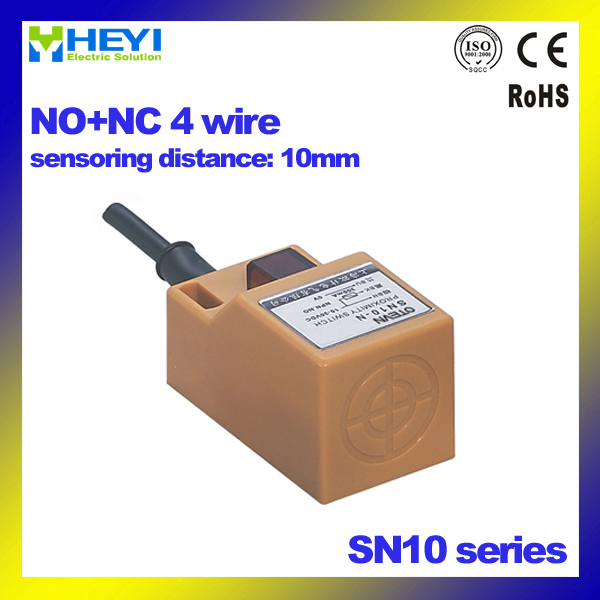 non-shielded 4 wire NO+NC 30*30*52mm Square inductance sensor SN10 ...
