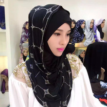 Hijab de poliéster para mujer, hiyab islámico musulmán de diamante de imitación, chal de cobertura completa, turbante, hiyab instantáneo, elástico, jersey, gorro, pañuelo para la cabeza