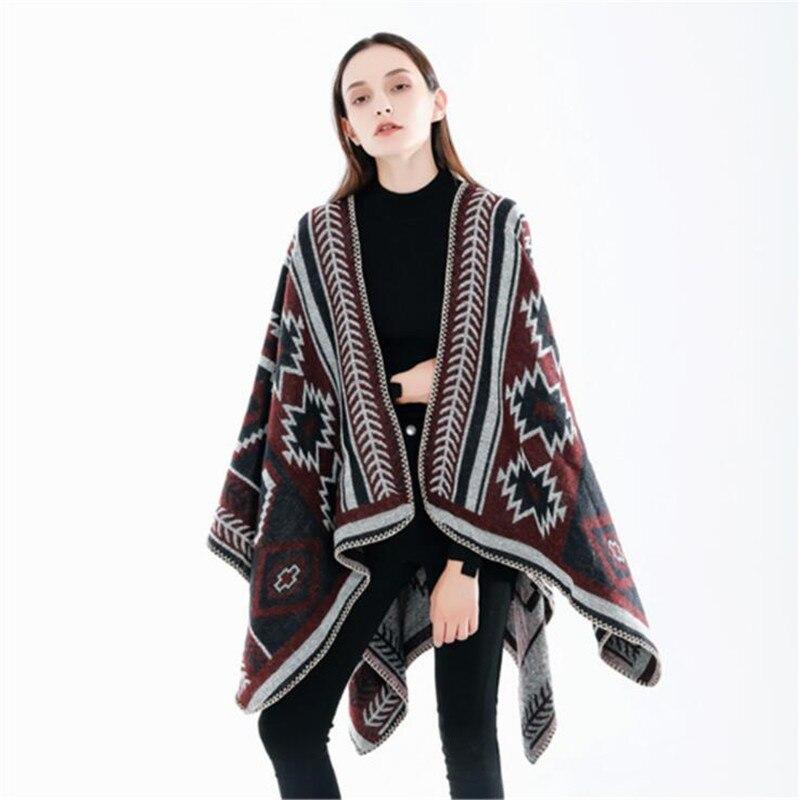 Bohemian Ethnic Style Winter Women Cashmere Pashmina Poncho Capes Shawl Sweater Coat manteau femme hiver bufanda mujer