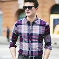 2016 New Men's Long Sleeved Casual Plaid Shirt Men Checkered Dress Shirts