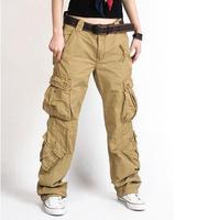 Women Cargo Pants 8 Pocket Cotton Hip Hop Trousers Loose Baggy Military Army Tactical Pants Wide Leg Joggers Plus Size XXL