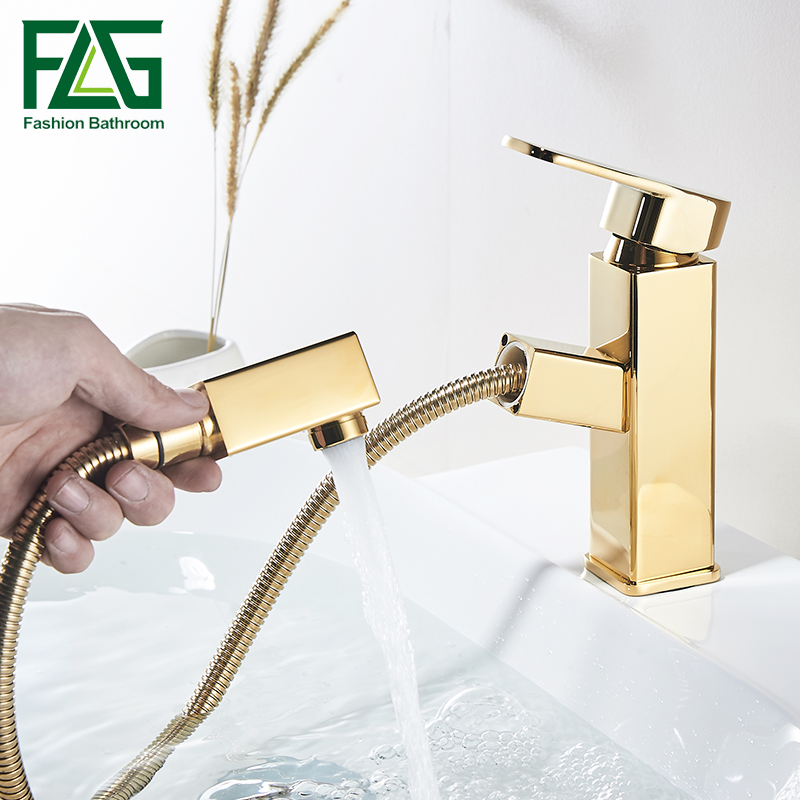 Gold Sink Bathroom Faucet Copper Handles Basin Water Tap Deck Mounted Pull Out Single Hole Torneira Banheiro цена и фото