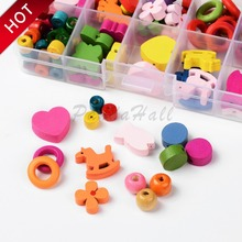 HOT 1Box Mixed Shapes Wood Beads for Jewelry Making Accessories Children Kids Wooden DIY Necklace Mixed Color, 7.5~22mm