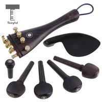 Tooyful Set Of Violin Parts Ebony Chinrest Tailpiece Fine Tuner Tuning Peg Tailgut Endpin Kit For