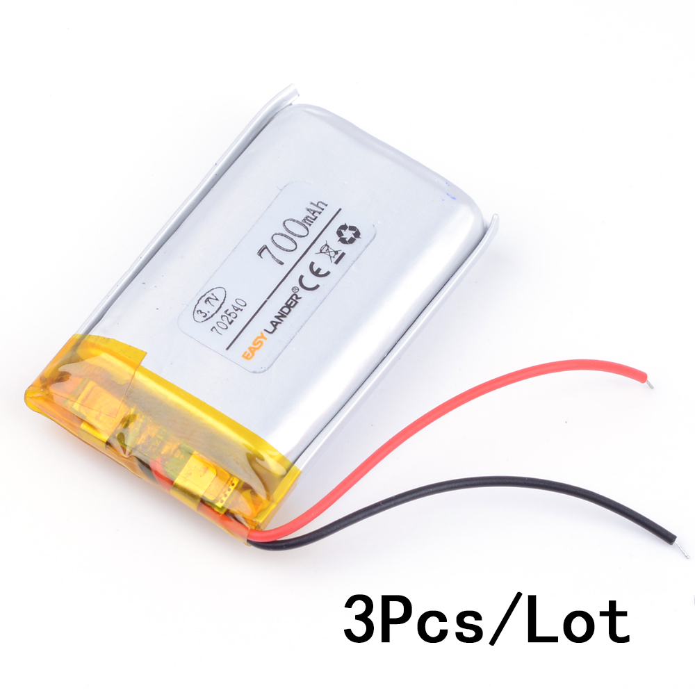 3pcs/Lot 3.7V 700mAh Rechargeable li Polymer Li-ion Battery For bluetooth headset MP3 MP4 speaker mouse recorder 072540 <font><b>702540</b></font> image