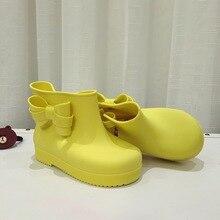 Мини-Ку 3 Цвет Луки Дождь Сапоги Для Девочек Милые Ботинки водонепроницаемый Девушки Лук Обувь Дождь Загрузки Обувь Желе Детская Обувь 13.5-17.5 см