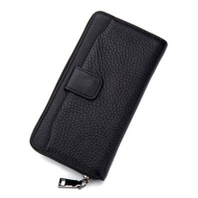 Luxury Brand Men Long Coin Purse Male Black Ultra Thin Clutch Wallets Genuine Leather Zipper Cell Phone Wallet