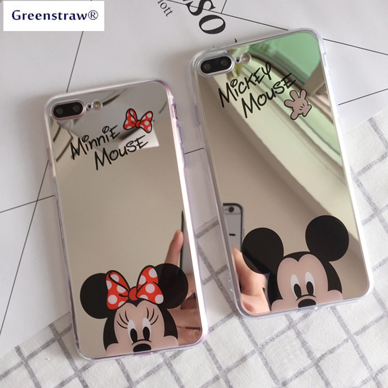 For iPhone 6 Case iPhone 8 X Case Mirror Cartoon Mickey Minnie Soft TPU Phone Cases For iPhone 7 5 6S 8 Plus iPhone XS XR XS Max