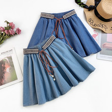AcFirst Spring Blue Women Skirt High Waist A-Line Long Mini Skirts Sexy Plus Size Casual Lace Up Beading