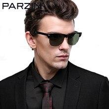 Parzin óculos de Sol Dos Homens Polarizados Artesanais Das Mulheres Do Vintage Masculino óculos de Sol Óculos Shades Oculos de sol Masculino Óculos De Sol Com Caso 9600