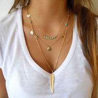2016 New Fashion Turquoise Beads Glaze Necklaces Leaf 3 Layer Necklace Multilayer Necklaces For Women