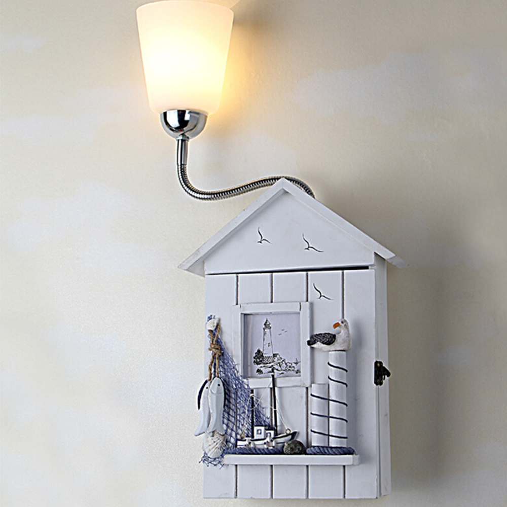 Средиземноморский дом пастырской Стиль морской Винтаж настенный светильник детская комната Детские Настенные светильники для дома ночник...