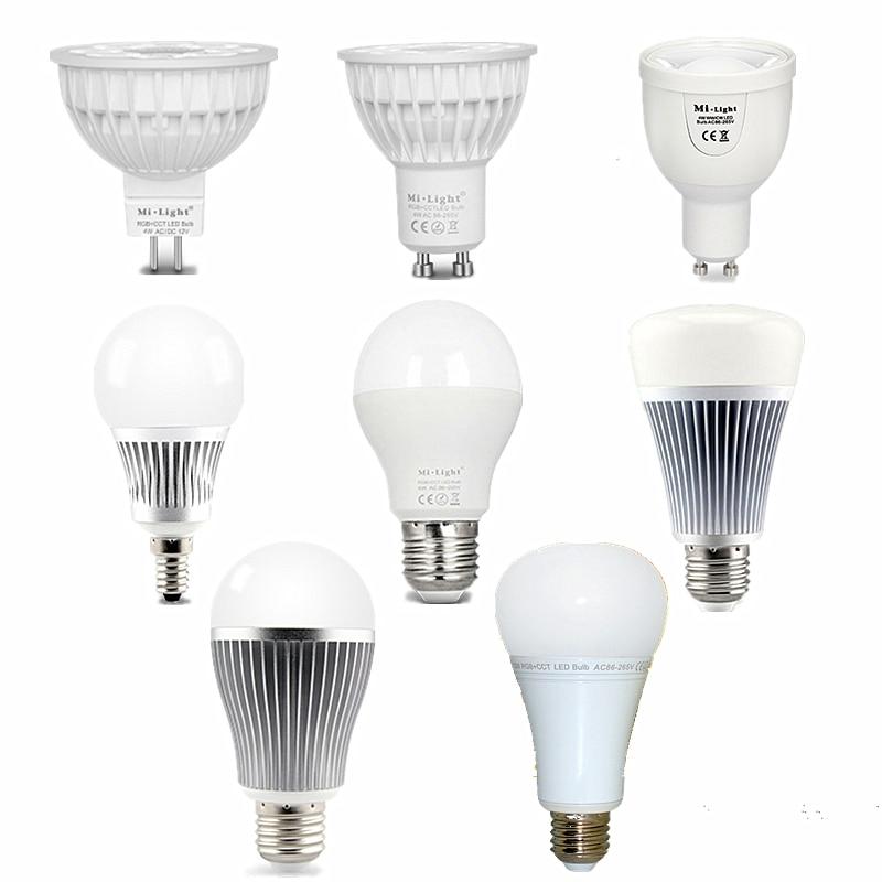 Mi Light LED Bulb AC85-265V 12V MR16 GU10 E14 E27 LED Lamp WiFi Control 4W 5W 6W 8W 9W 12W RGB+CCT RGB+CW RGB+WW CW+WW LED Light dimmable mi light 2 4g gu10 5w color temperature adjustable dual white cw ww led bulb lamp ac85 265v 110v 220v wifi compatible