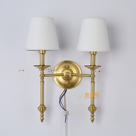 Veayas Wall Lamp Two Lampshade Golden Wall Sconce Match