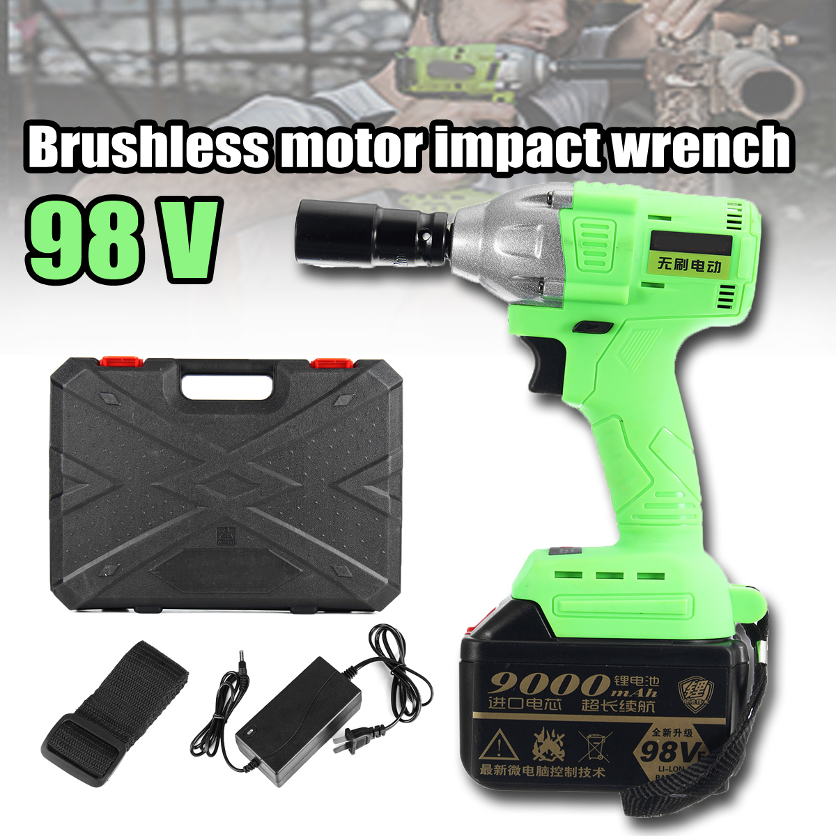 Cordless Electric Wrench 520Nm High Torque 98V Li-ion Impact Wrench Brushless with 2 Battery 220V Power Tool electric impact wrench 98 128 168 188vf electric brushless li ion battery wrench 10mm chuk with box cordless speed control power