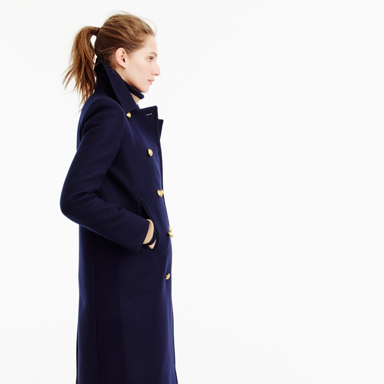 UK Manteau femme 2018 Autumn Winter Women Navy Notched Double breasted  Woolen Long coat Classic Slim Overcoat abrigos mujer-in Wool   Blends from  Women s ... fbd29d28233a